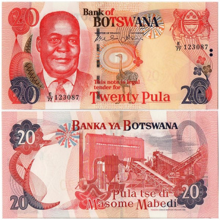 """2006 * Billete Botsuana 20 Pula """"K Motsete"""" (p27b) SC"""