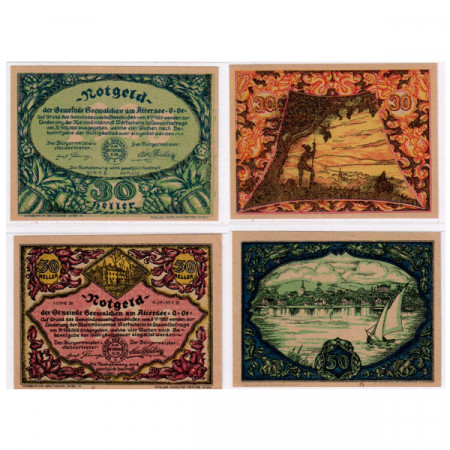 "1920 * Lote 2 Notgeld Austria 30 . 50 Heller ""Alta Austria - Attersee"" (FS 988a)"
