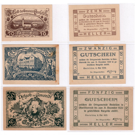 "1920 * Lote 3 Notgeld Austria 10 . 20 . 50 Heller ""Alta Austria - Ansfelden"" (FS 45Ia)"