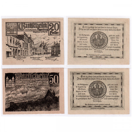 "1920 * Lote 2 Notgeld Austria 20 . 50 Heller ""Baja Austria – Eggenburg"" (FS 162a)"
