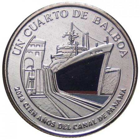 """2016 * Quarto 1/4 Balboa (25 Cents) Panamá """"Canal de Panamá - 5"""" UNC"""