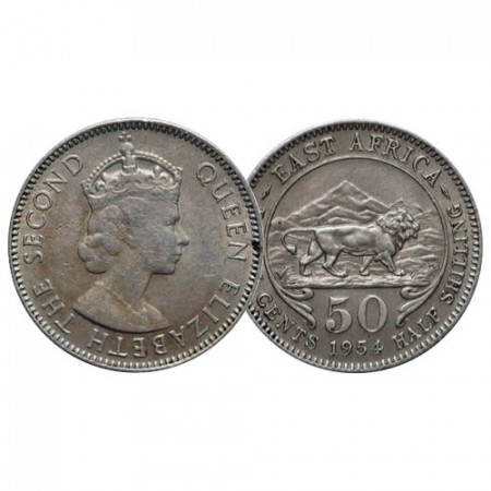 """1954 * 50 Cents - 1/2 Shilling África Oriental Británica - British East Africa """"Isabel II"""" (KM 36) MBC/MBC+"""