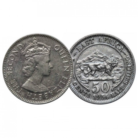 """1956 KN * 50 Cents - 1/2 Shilling África Oriental Británica - British East Africa """"Isabel II"""" (KM 36) MBC+"""