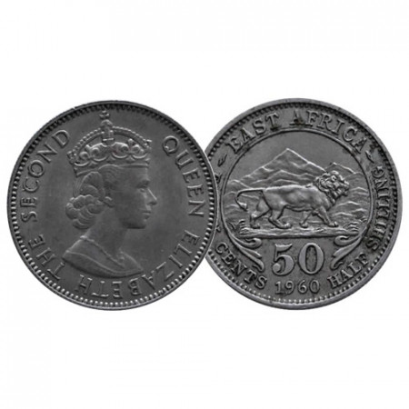 """1960 * 50 Cents - 1/2 Shilling África Oriental Británica - British East Africa """"Isabel II"""" (KM 36) MBC"""