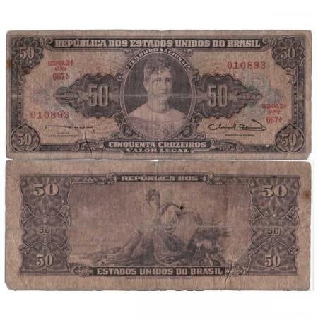 """ND (1963) * Billete Brasil 50 Cruzeiros """"Valor Legal - Pricess Isabel"""" (p179) BC"""