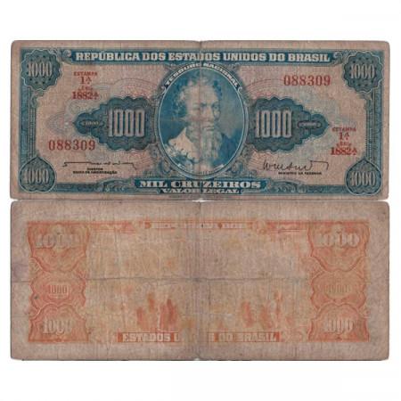 """ND (1961-63) * Billete Brasil 1000 Cruzeiros """"Valor Legal - P Alvares Cabral"""" (p173b) BC"""
