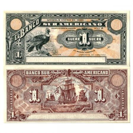 "1920 * Billete Ecuador 1 Sucre ""Commercial Bank - Banco Suramericano"" (pS251r) SC"