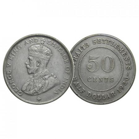 "1920 * Half 1/2 Dollar (50 Cents) Plata Malasia - Straits Settlements ""Jorge V"" (KM 35.1) MBC+"