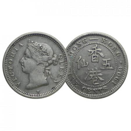 "1900 H * 5 Cents Plata Hong Kong ""Reina Victoria"" (KM 5) MBC"