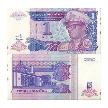 "1993 * Billete Zaire 1 Nouveau Zaire ""Mobutu Sese Seko"" (p52a) SC"