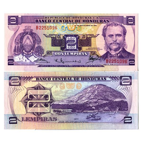 """1976 * Billete Honduras 2 Lempiras """"Marco Aurelio Soto"""" (p61) SC - Mynumi"""