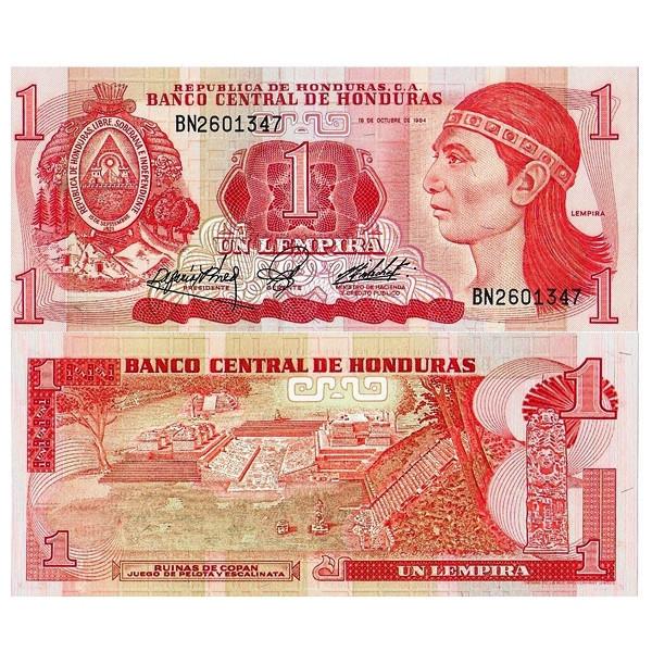 """1984 * Billete Honduras 1 Lempiras """"Lempira"""" (p68b) SC - Mynumi"""
