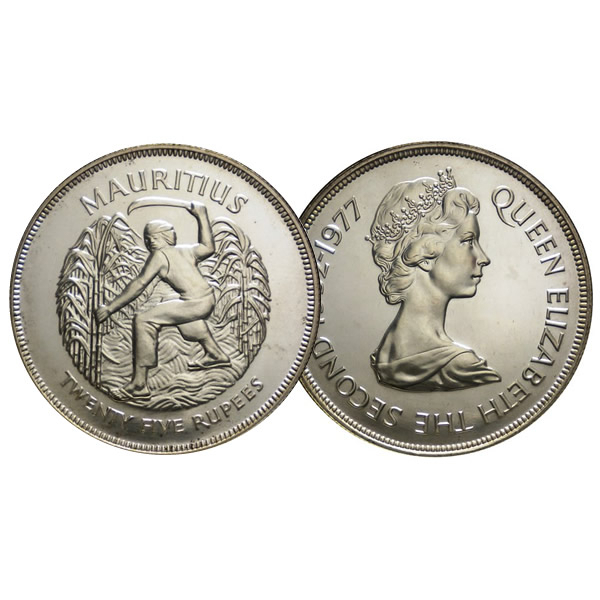Seychelles 1977 Silver Jubilee 25 Rupees Silver Coin UNC
