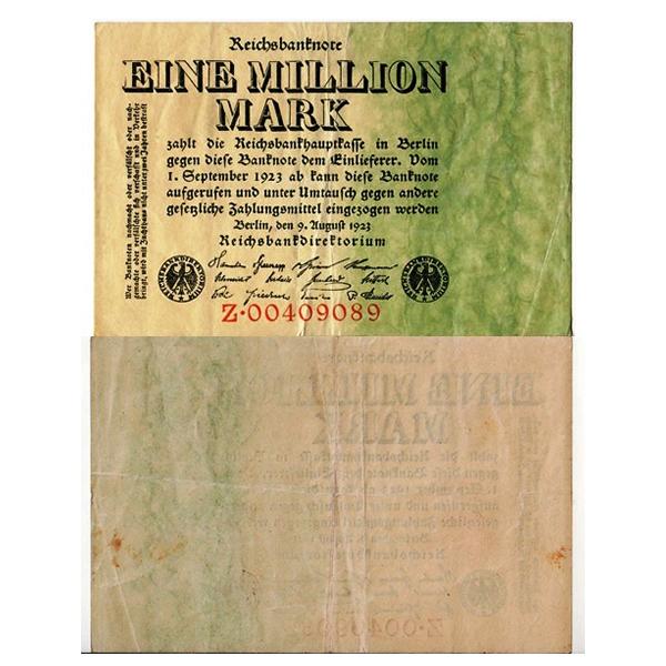 1923 Germany Weimar Republic 1.000.000 Mark Banknote